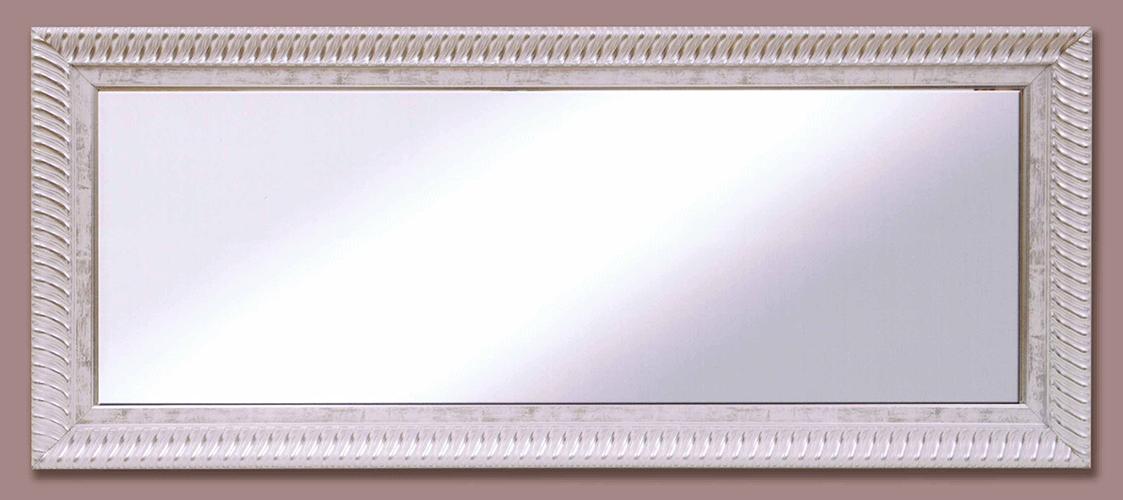 Espejo marco blanco con cordón plata 8 cm