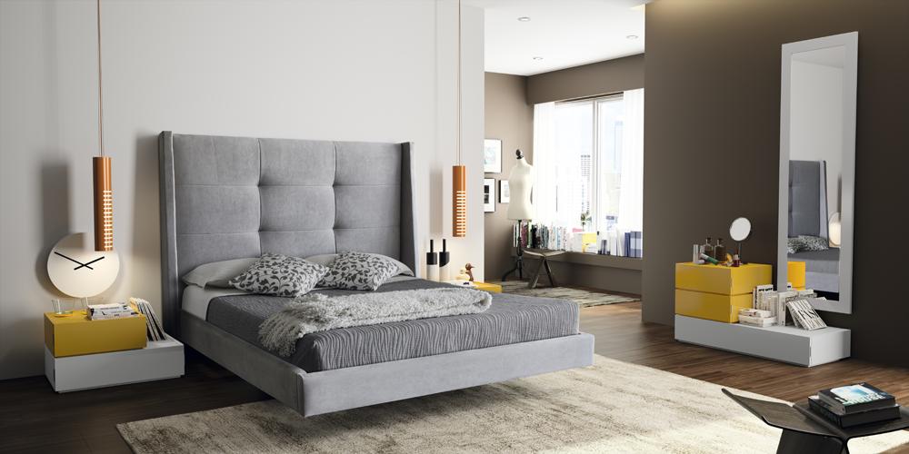 Dormitorio matrimonio cabezal tapizado y c moda desigual 148 for Comodas dormitorio matrimonio
