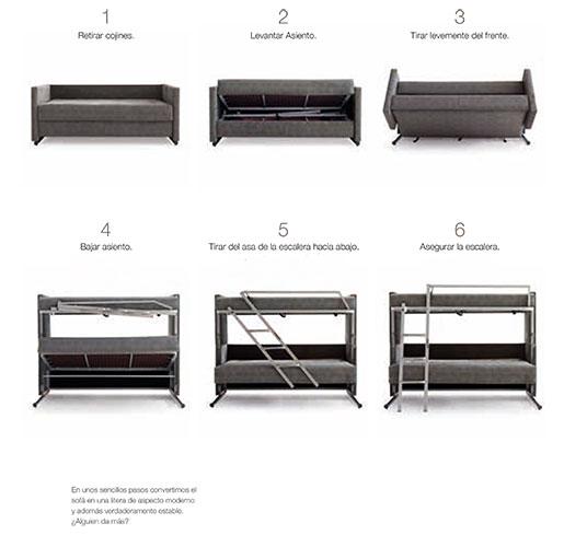 Sof cama que se convierte en litera modelo athenea for Sofas que se hacen cama
